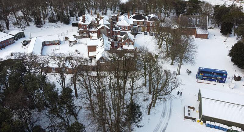 School snow overhead view